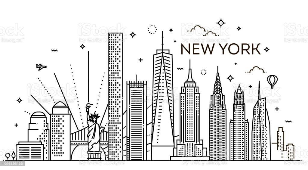 New York city skyline, vector illustration, flat design vector art illustration