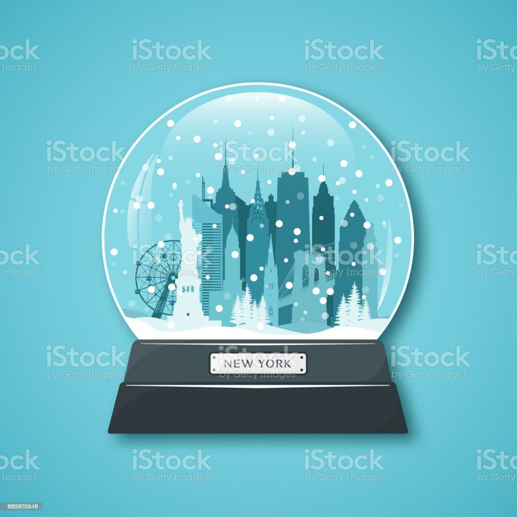 New York City snow globe. Merry Christmas. Vector illustration. vector art illustration