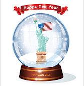 Vector New York City Snow Globe