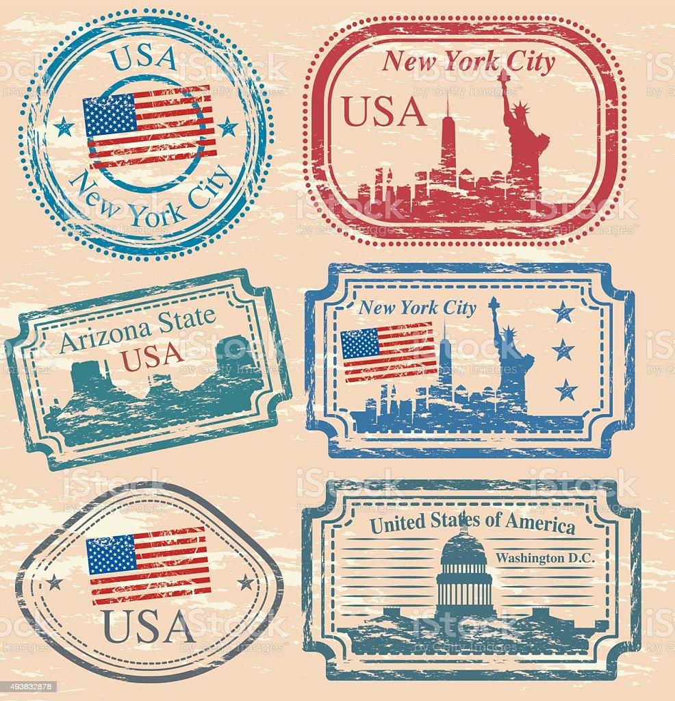 New York City Stamp vector art illustration