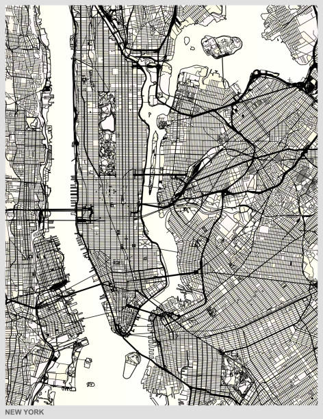 new york city structure art map - architecture illustrations stock illustrations