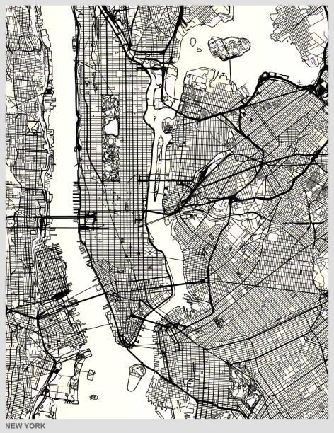 ニューヨーク市構造芸術探訪アートマップ - 都市 モノクロ点のイラスト素材/クリップアート素材/マンガ素材/アイコン素材
