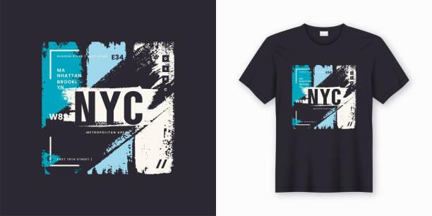 ilustraciones, imágenes clip art, dibujos animados e iconos de stock de diseño abstracto de ciudad de nueva york con estilo t-shirts y prendas de vestir - moda playera