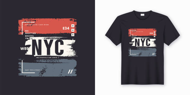 stockillustraties, clipart, cartoons en iconen met new york city t-shirt en kleding abstracte stijlvol - fashion