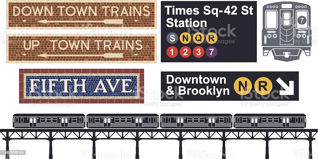 New York City Subway vector art illustration