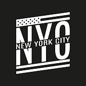 New York City text. NYC typography design with American flag. Tee, T-Shirt, Sport, Athletic Black and White graphics. Vector illustration.