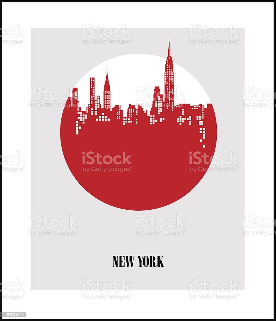 New York City - The Big Apple. Poster vector art illustration