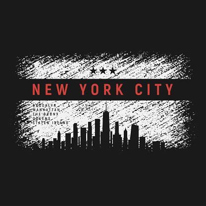 New York City t-shirt and apparel grunge style design with city skyline silhouette. Vector print, typography, poster, emblem.