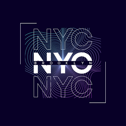 NYC, New York city t-shirt design with abstract colored print. Brooklyn typography graphics for tee shirt. Abstract design for apparel.
