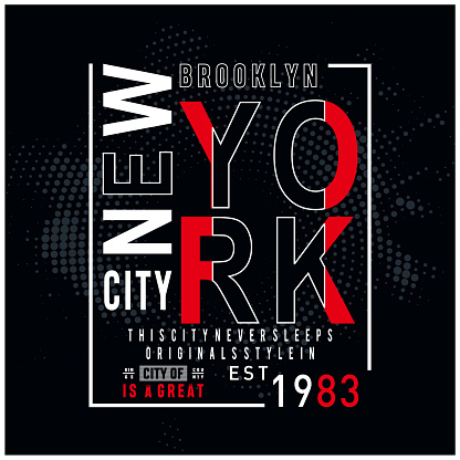 new york city typography design for t shirt