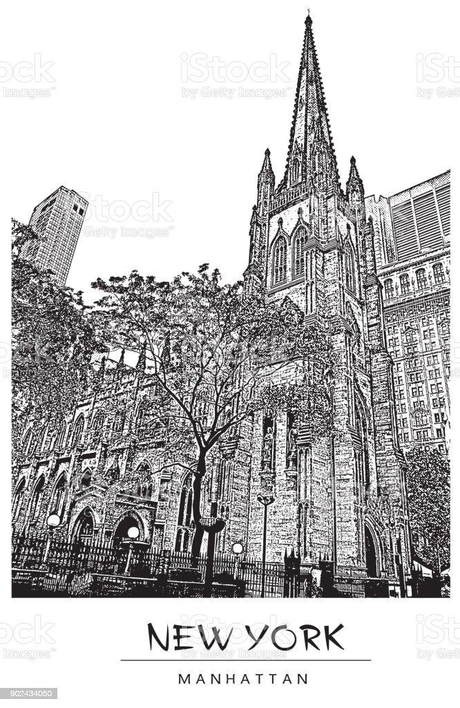 New York city, USA. Trinity Church in Manhattan. Vector illustration in engraving style. vector art illustration