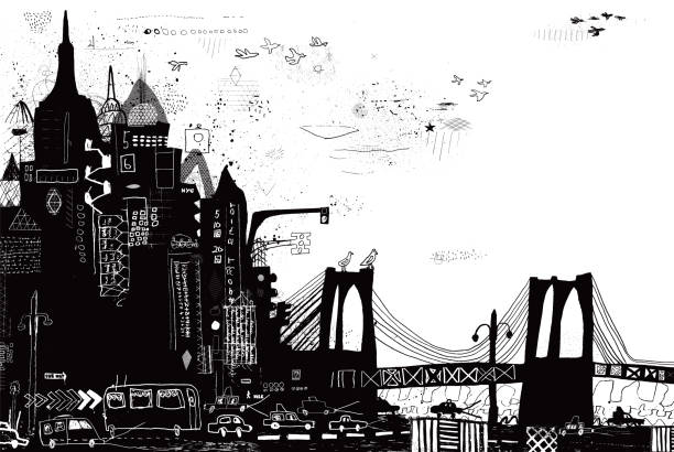 new york city vector illustration - graffiti backgrounds stock illustrations, clip art, cartoons, & icons
