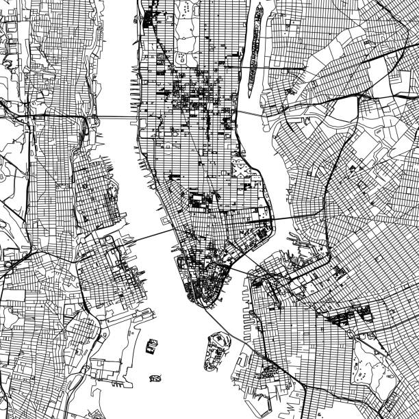 New York City Vector Map Geographicall/Road map of New York City manhattan financial district stock illustrations