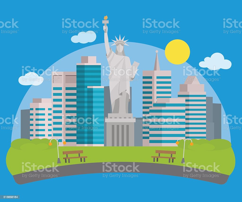 New york city view and the Statue of Liberty vector art illustration