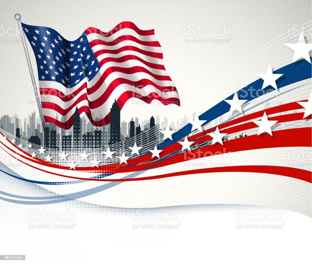 new york city wave vector art illustration