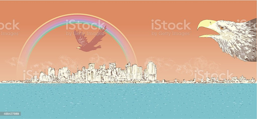 New York City with Bald Eagle royalty-free stock vector art