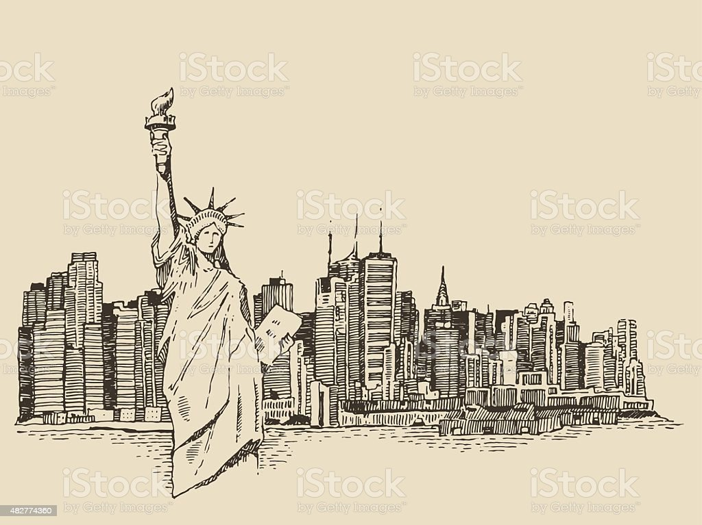 New York city with Statue of Liberty vector sketch vector art illustration