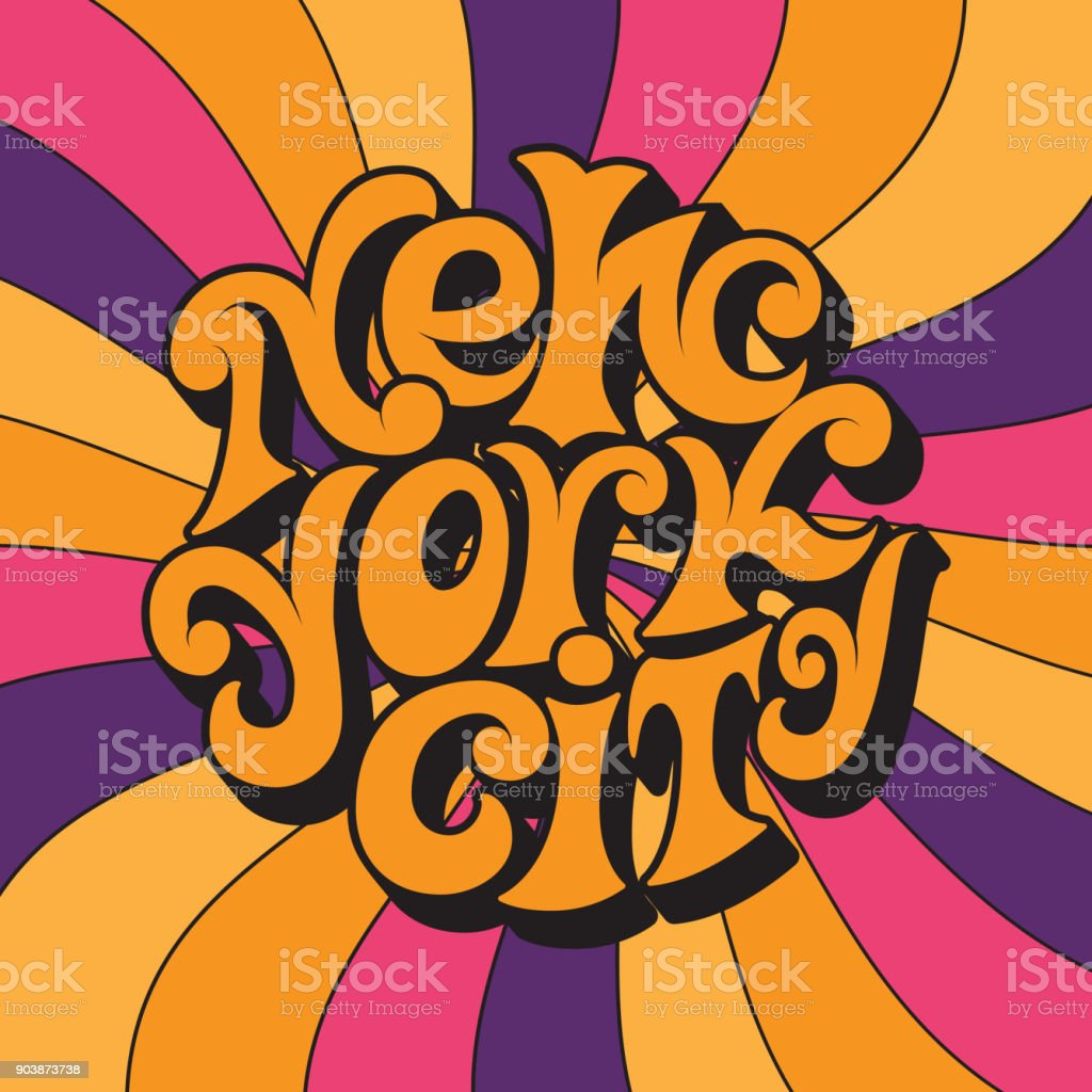 New York city.Classic psychedelic 60s and 70s lettering. vector art illustration