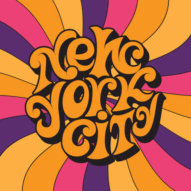 new york city.classic psychedelic 60s and 70s lettering. - 1960s style stock illustrations, clip art, cartoons, & icons