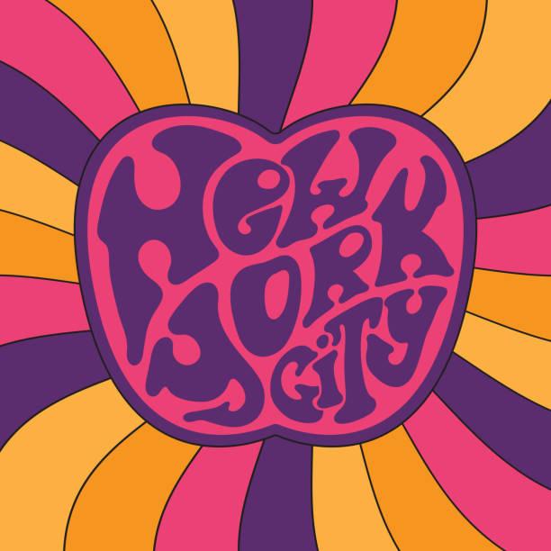 ilustrações de stock, clip art, desenhos animados e ícones de new york city.classic psychedelic 60s and 70s lettering. - viagens anos 70