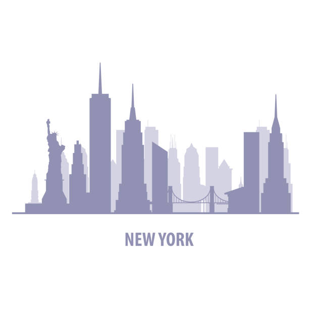 illustrations, cliparts, dessins animés et icônes de new york cityscape - silhouette de manhattan skyline - new york