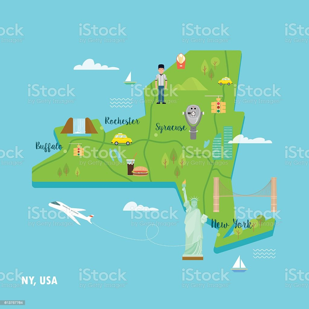 Map Of New York With Landmarks.New York Colorful Map In Retro Style With Popular Landmarks Stock