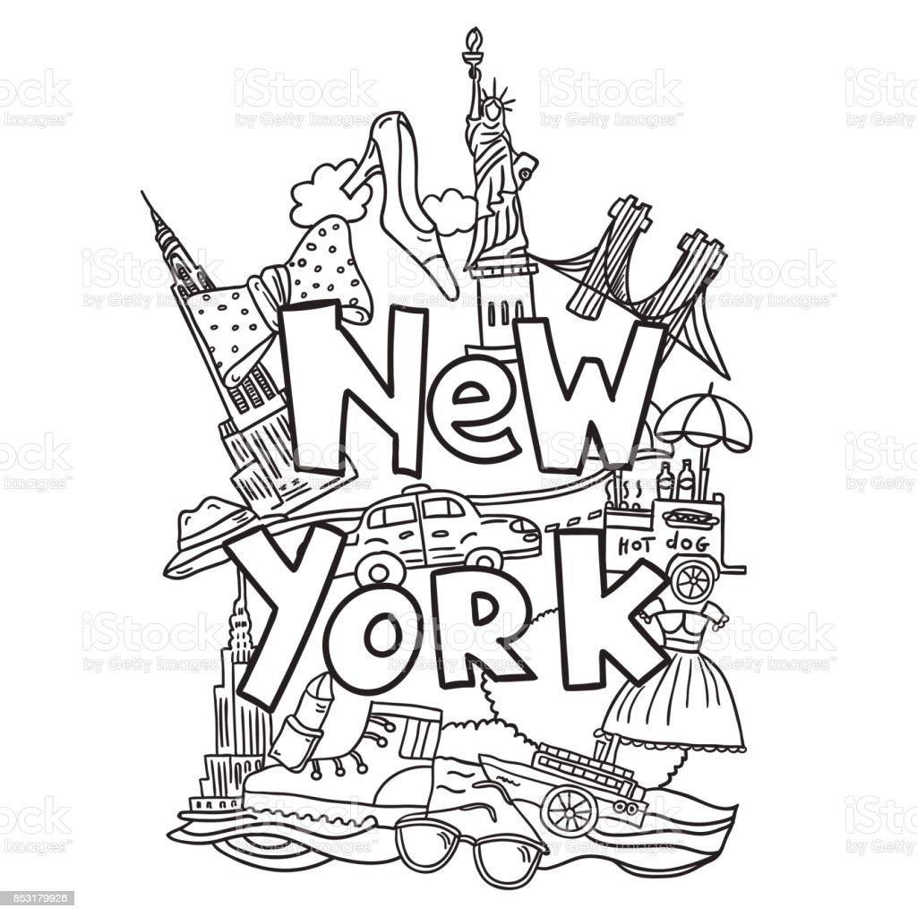New York Buch Malvorlagen Stock Vektor Art und mehr Bilder von ...