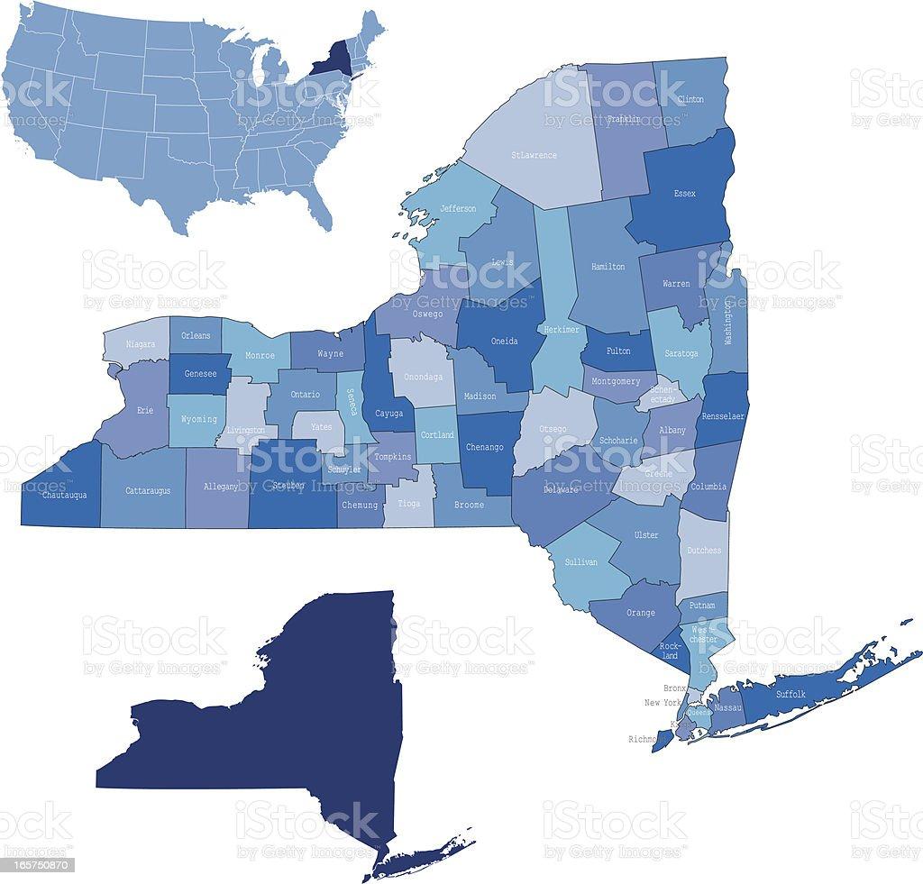 New York & counties map vector art illustration