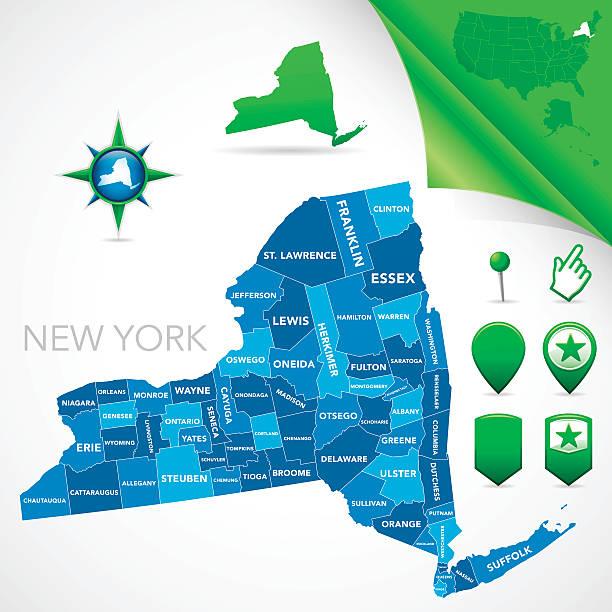 new york county map - new york map stock illustrations, clip art, cartoons, & icons