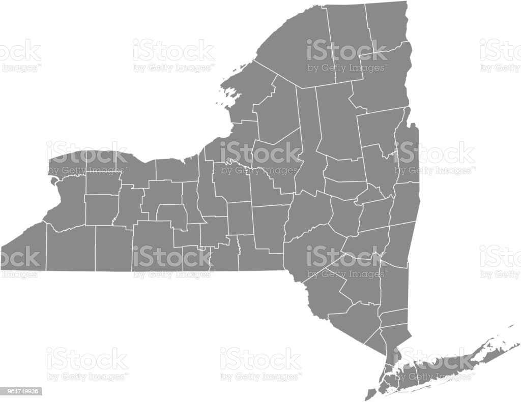 New York County Map Vector Outline Gray Background Map Of New York ...