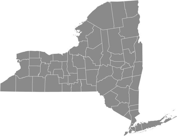 stockillustraties, clipart, cartoons en iconen met new york county kaart vector overzicht grijze achtergrond. kaart van new york staat voor verenigde staten van amerika met provincies randen - nassau new providence