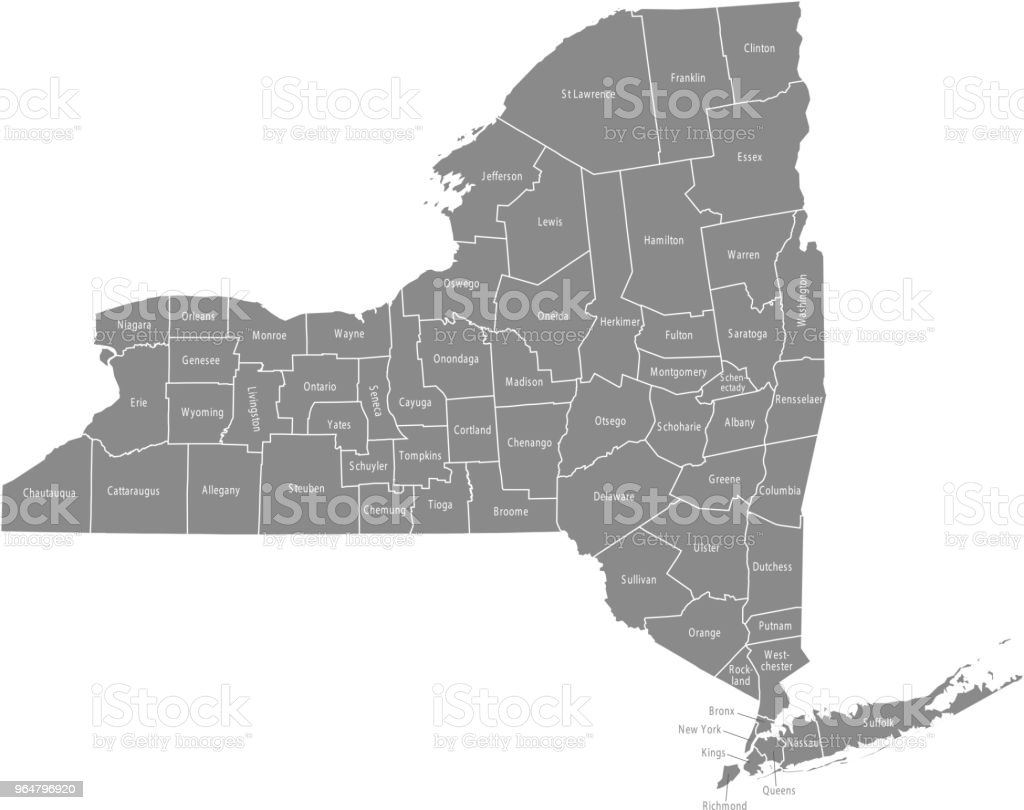 New York County Map Vector Outline Gray Background Map Of New York