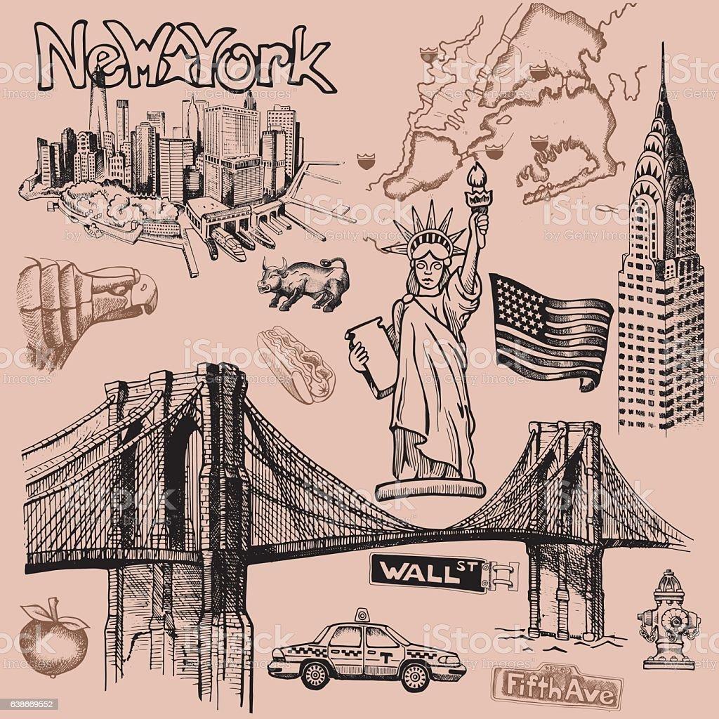 New York doodle freehand vector art illustration