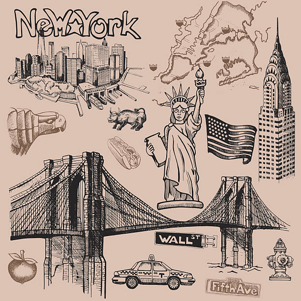 New York doodle freehand freehand drawing Sites New York City wall street stock illustrations