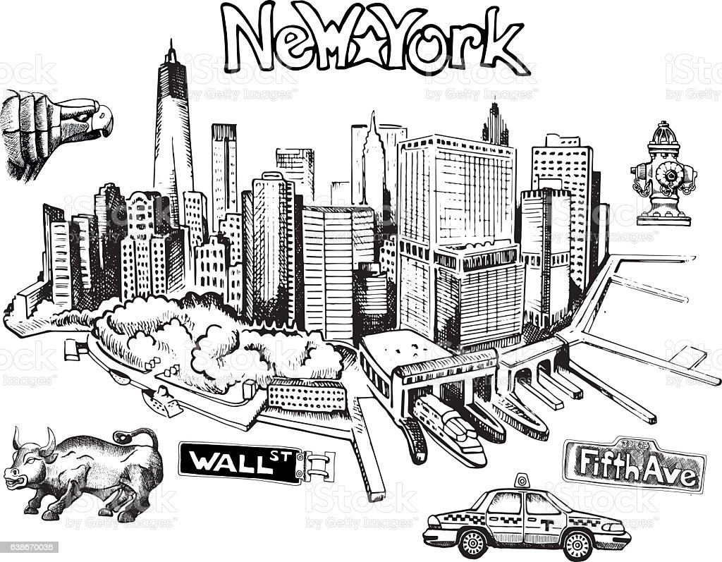 New York Doodle Freehand Stock Vector Art IStock - New york city map drawing