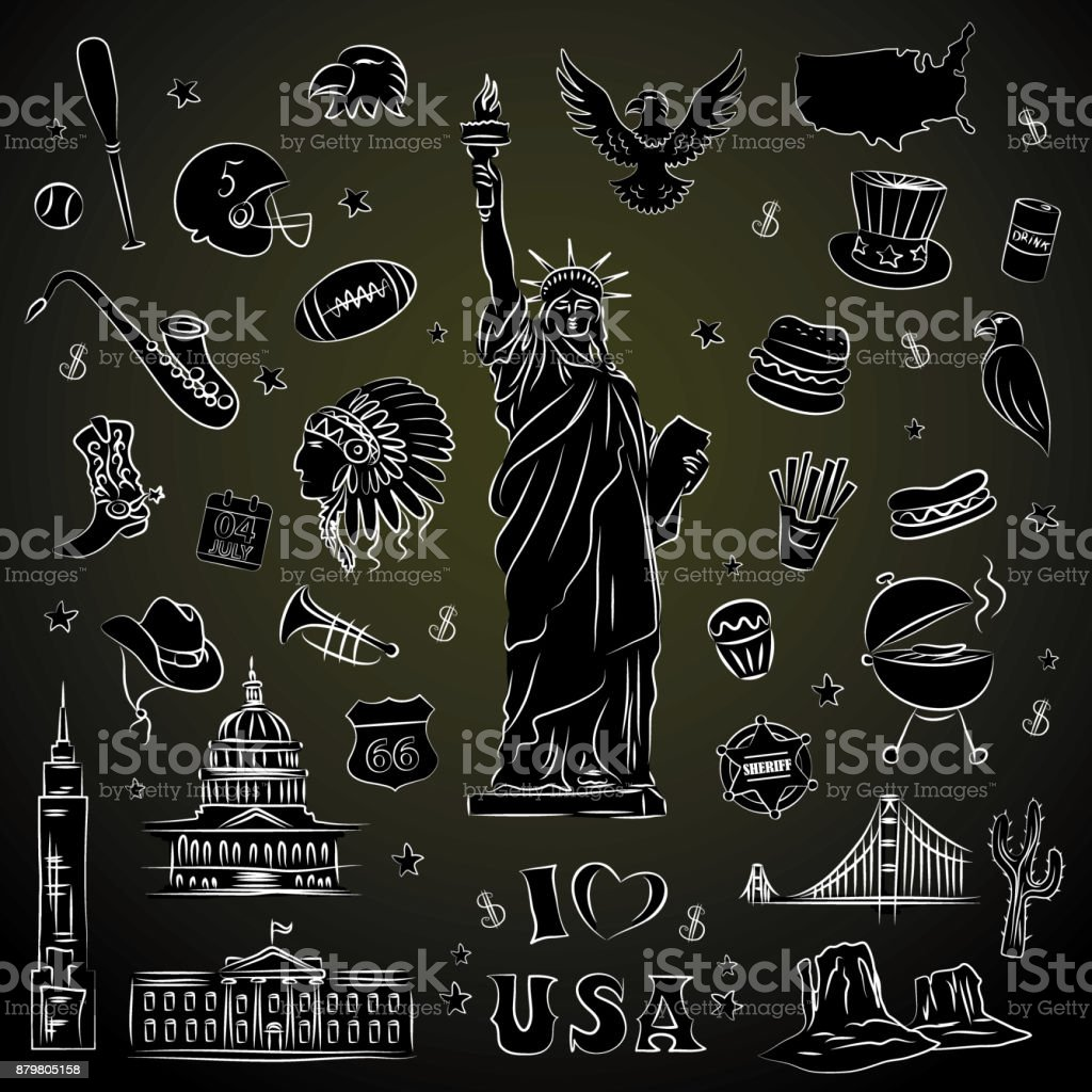 New York doodle line set. Hand drawn elements. vector art illustration