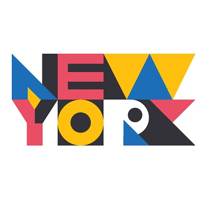 New York geometric design colorful isolated inscription