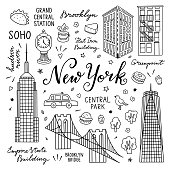 New York hand drawn vector set with buildings, landmarks, architecture, food and lettering. Travel elements and objects in New York city