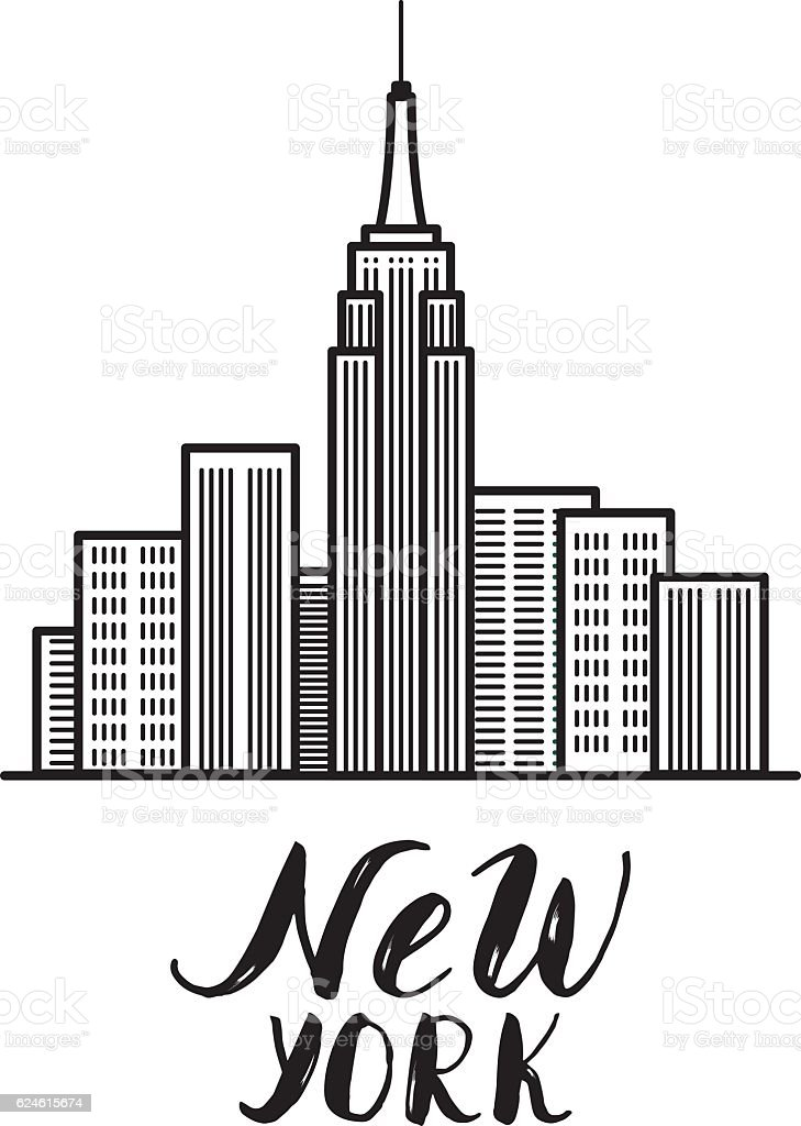 Super New York Illustration With Modern Calligraphy And Skyscrapers B  UU42