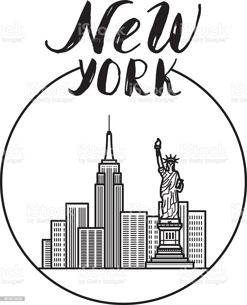 New york illustration with modern calligraphy city