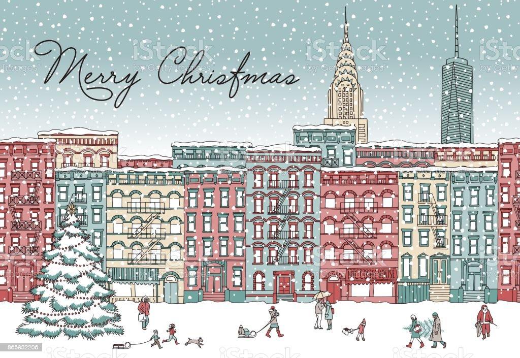 New York in winter vector art illustration