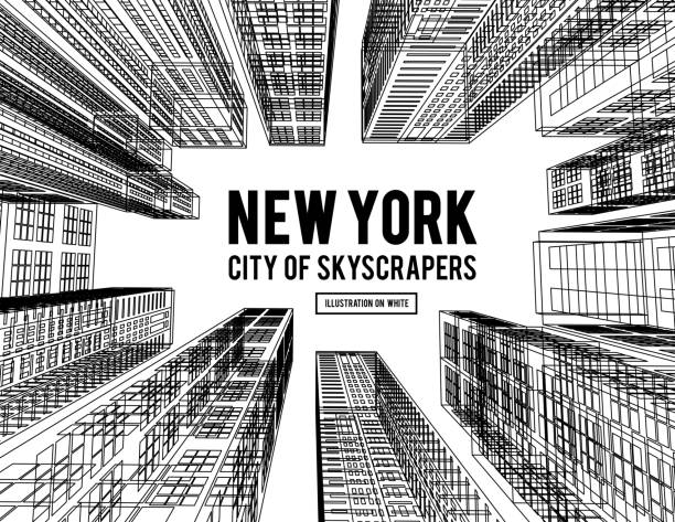 New York is a city of skyscrapers. Vector illustration in the drawing style on a white. View of the skyscrapers below New York is a city of skyscrapers. Vector illustration in the drawing style on a white background. View of the skyscrapers below architecture silhouettes stock illustrations