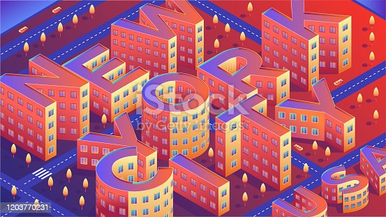 New York city with buildings isometric font design