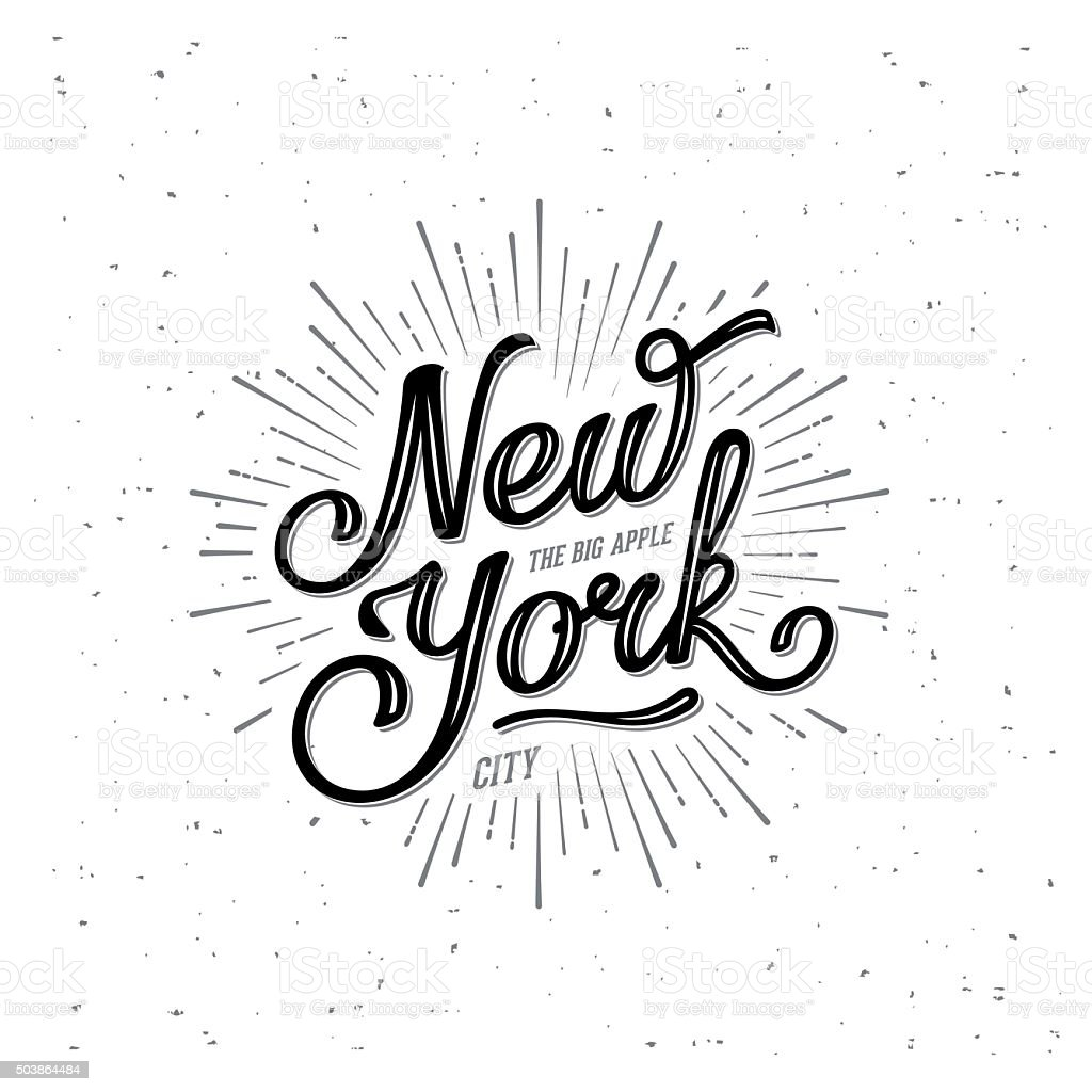New York Lettering Big Apple vector art illustration
