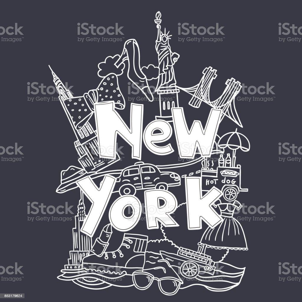 New York Schriftzug Dunkel Stock Vektor Art und mehr Bilder von ...