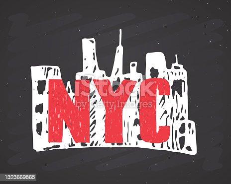 istock New York lettering handwritten sign, Hand drawn grunge calligraphic text. Vector illustration on chalkboard background 1323669865