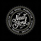 Vintage hipster frame with lettering 'New York City, Brooklyn, Manhattan, Queens, Bronx, Staten Island' for your poster, badge, t-shirt apparel print. Vector Illustration.
