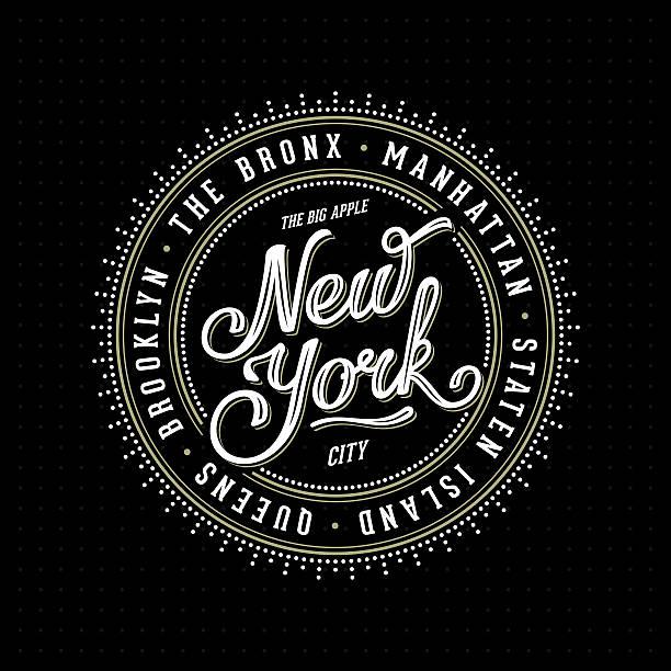 Letras de la ciudad de Nueva York, negro - ilustración de arte vectorial
