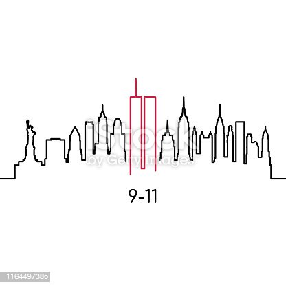 istock New York linear silhouette. Vector design template for USA Patriot Day 9/11. 1164497385