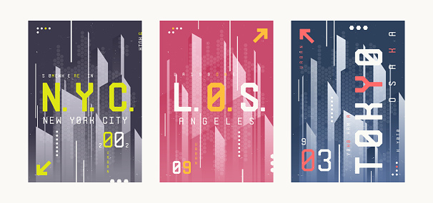New York, Los Angeles, Tolyo t-shirt abstract geometric futuristic designs, prints, posters.